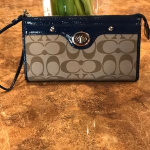 Coach Wristlet/Wallet Navy Blue and Tan